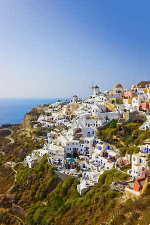 Village Oia at Santorini, Greece - vacation background photo