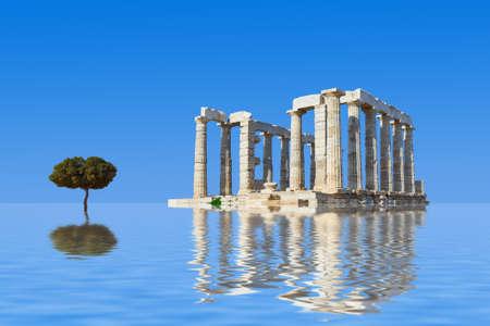 templo griego: Ruinas antiguas y árboles en el agua - formación en arquitectura abstracta