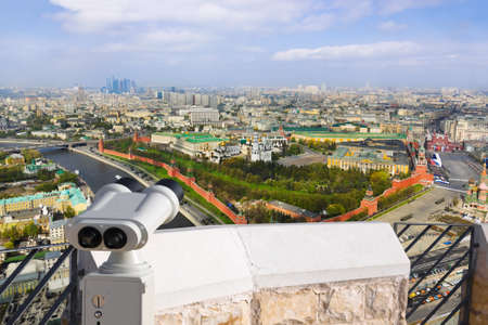 Binoculars and Moscow Kremlin - aerial view photo