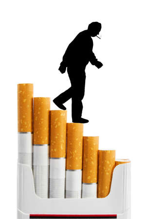 Smoker on cigarettes stairs isolated on white background photo