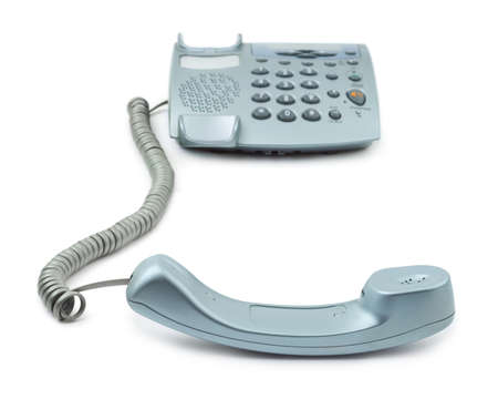 hang up: Telephone and receiver isolated on white background Stock Photo