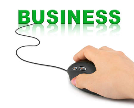 Hand with computer mouse and word Business - business concept photo