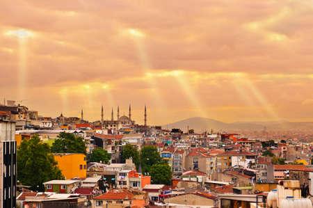 bosphorus: Istanbul sunset panorama - Turkey travel background Stock Photo