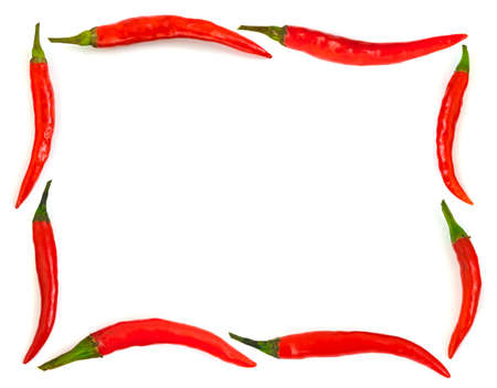 green chilli: Frame made of red hot chili pepper isolated on white background