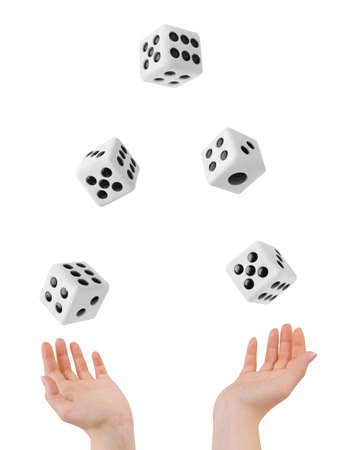 dice: Hands throwing big dices isolated on white background
