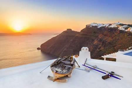 Santorini sunset (Firostefani) - Greece vacation background photo