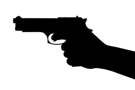 Hand with pistol isolated on white background photo
