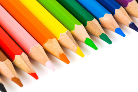 Multicolored pencils isolated on white background Stock Photo - 12089675