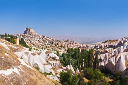 Uchisar cave city in Cappadocia Turkey - nature background photo