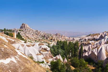 Uchisar cave city in Cappadocia Turkey - nature background photo
