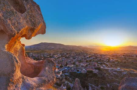 goreme: Sunset in Cappadocia Turkey - travel background