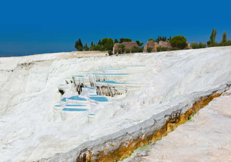 Travertine pools and terraces - Pamukkale Turkey Stock Photo - 12321858