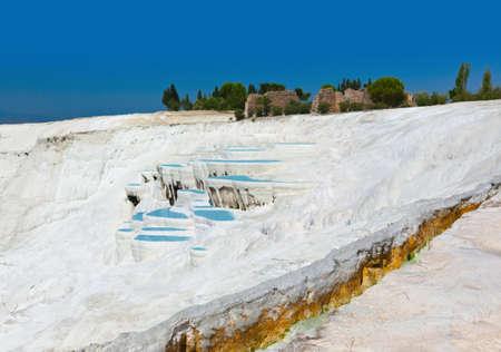 Travertine pools and terraces - Pamukkale Turkey Stock Photo - 12321858