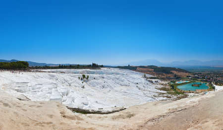 Travertine pools and terraces - Pamukkale Turkey panorama Stock Photo - 12322084