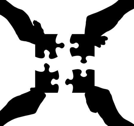 Las manos y los rompecabezas aislados en fondo blanco photo