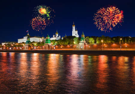 Firework over Kremlin in Moscow  Russia