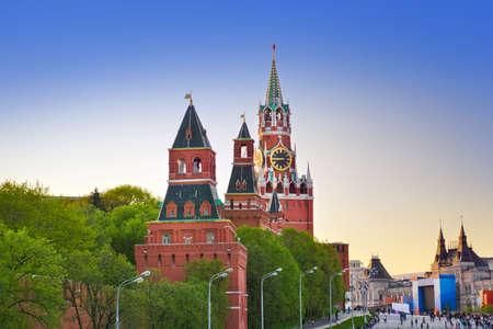 spasskaya: Kremlin in Moscow  Russia  at sunset