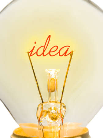 Word Idea in lamp - technology concept photo