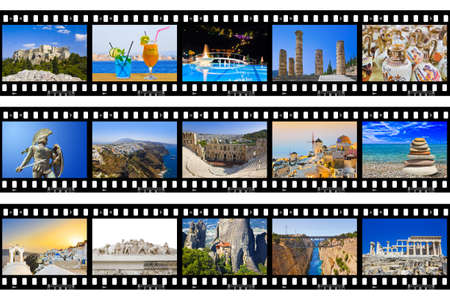 Frames of film - Greece nature and travel (my photos) isolated on white background photo
