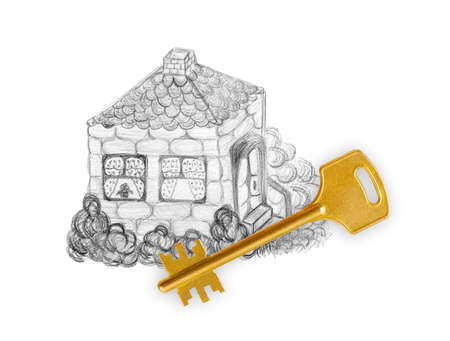 Drawing house and key isolated on white background photo