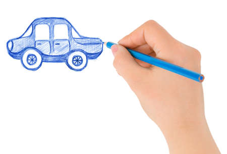 pencil sketch: Hand drawing car isolated on white background Stock Photo