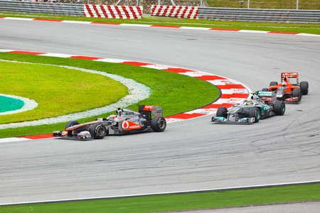SEPANG, MALAYSIA - APRIL 10: Cars on track at race of Formula 1 GP, April 10 2011, Sepang, Malaysia Redakční