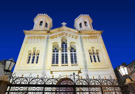 croatia dubrovnik: Church in Dubrovnik (Croatia) at night - architecture background