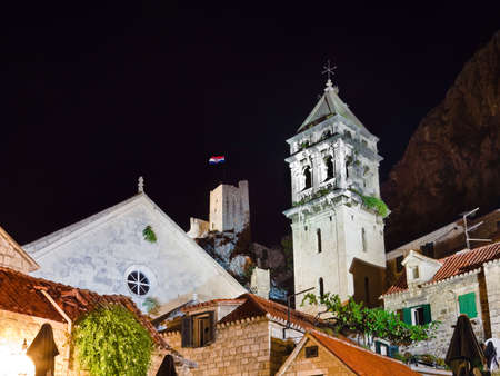 Old fort in Omis, Croatia at night - architecture background photo