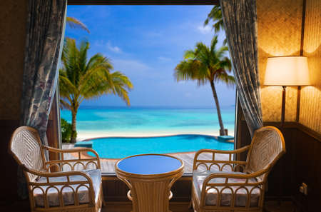 Hotel room and tropical landscape - vacation concept background Stock Photo - 12279803