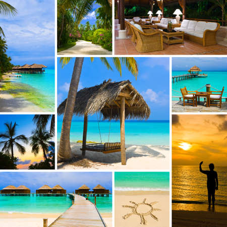 Collage of summer beach maldives images - nature and travel background (my photos)