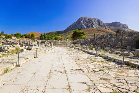 Ruins of town in Corinth, Greece - archaeology background photo
