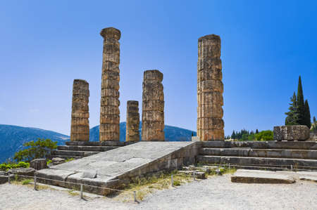 delphi: Ruins of Apollo temple in Delphi, Greece - archaeology background