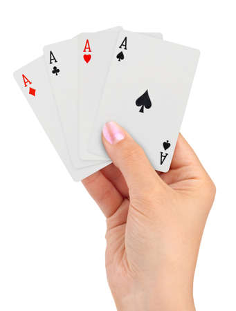 play card: Playing cards in hand isolated on white background Stock Photo