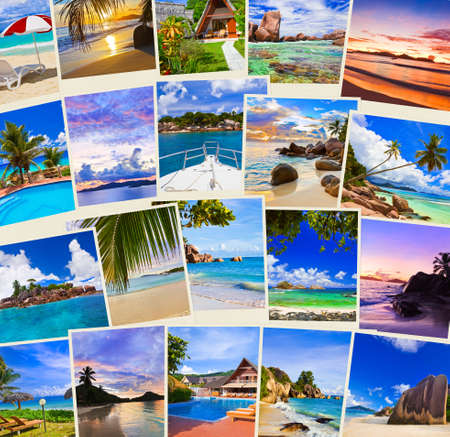 Stack of summer beach shots  - nature and travel background (my photos)