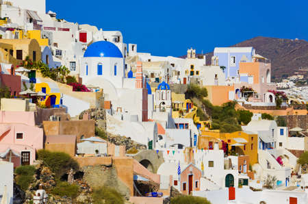 cyclades: Santorini view (Oia), Greece - vacation background Editorial