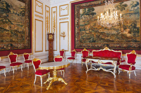 Interior of palace in Salzburg Austria - retro architecture background