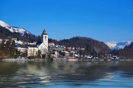 Village St Wolfgang on the lake Wolfgangsee at winter - Salzburg Austria photo