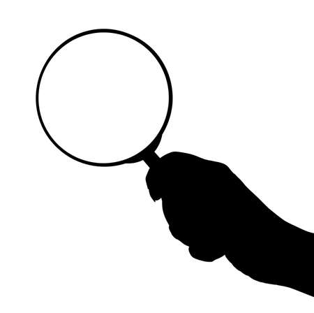 magnification: Magnifying glass in hand isolated on white background