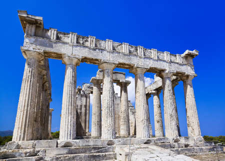 Ruins of temple on island Aegina, Greece - archaeology background photo