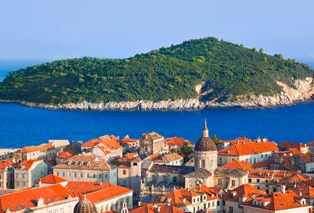 Town Dubrovnik and island in Croatia - abstact travel background photo