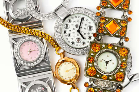 gold watch: Group of woman watches - fashion background Stock Photo
