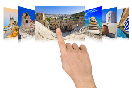 scrolling: Hand scrolling Greece travel images - nature and tourism concept  my photos  Stock Photo