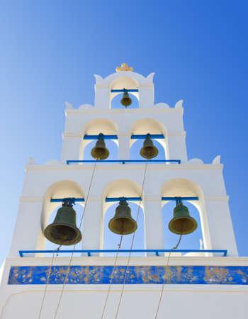 Santorini belltower  Oia , Greece - religion background photo
