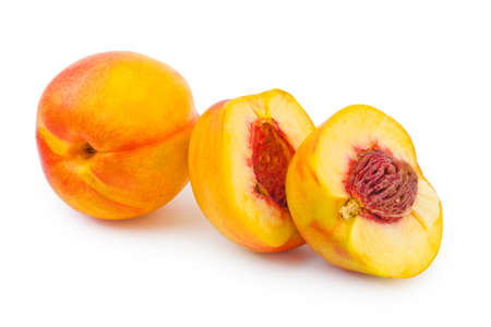 Ripe peach fruit isolated on white background Stock Photo - 12906996
