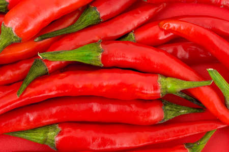 Heap of red hot chili pepper - food background photo