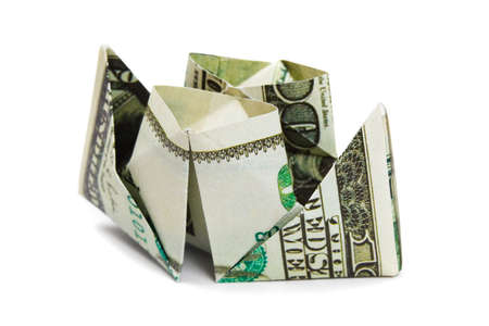 shallop: Ship made of money isolated on white background