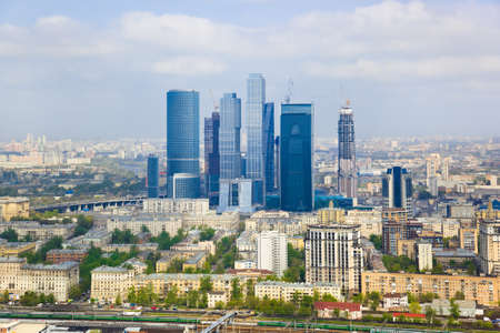 Modern skyscrapers at Moscow City, Russia - aerial view photo
