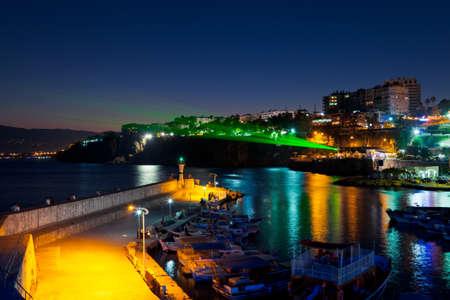 Old town Kaleici in Antalya, Turkey at night - travel background photo