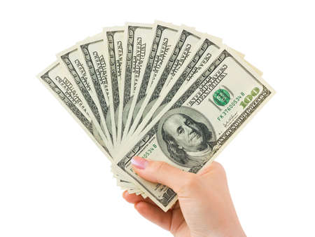 Hand with money isolated on white background Stock Photo - 12986699