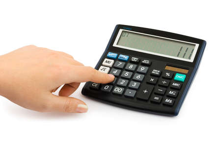 Hand and business calculator isolated on white background photo
